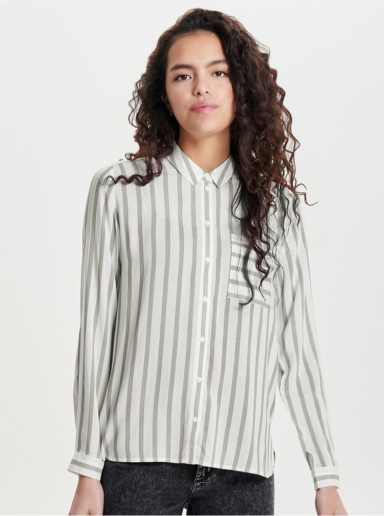 Šedo-krémová pruhovaná košile ONLY Candy
