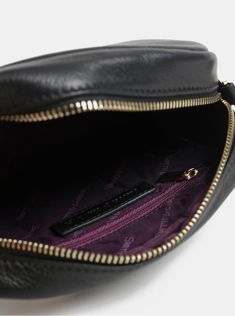 Černá kožená malá crossbody kabelka Smith & Canova