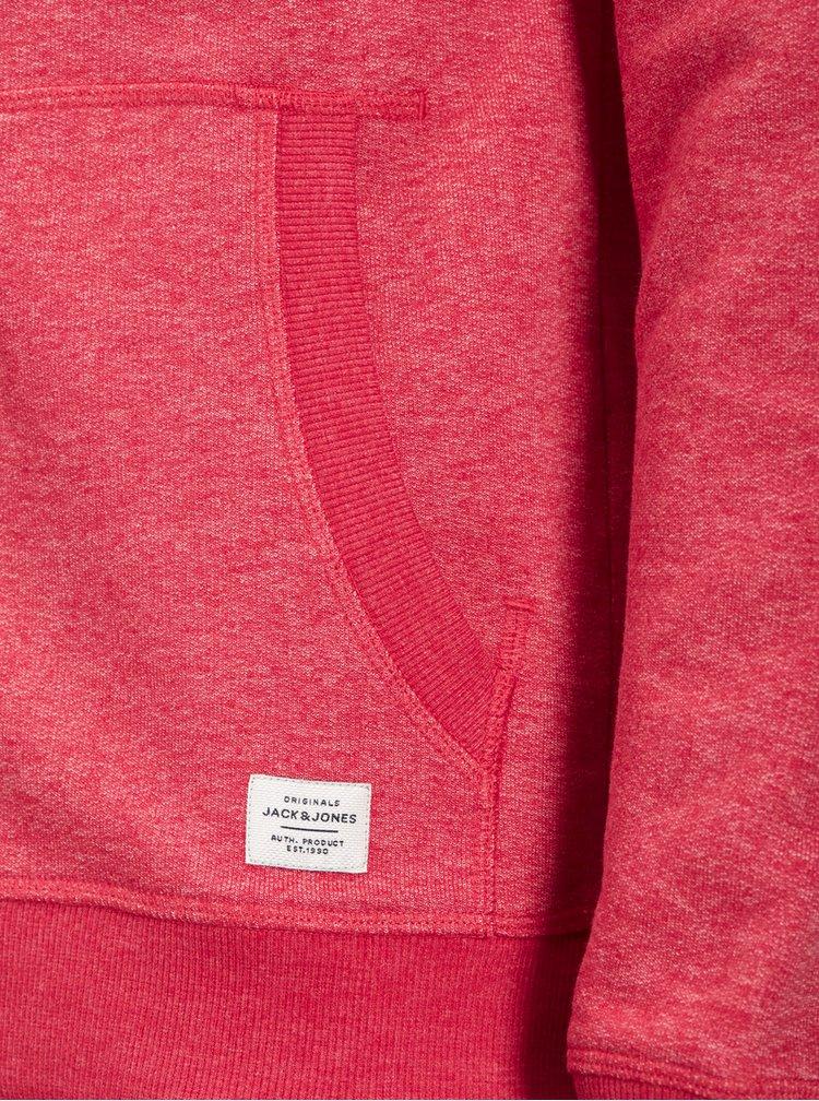 Červená žíhaná mikina na zip Jack & Jones