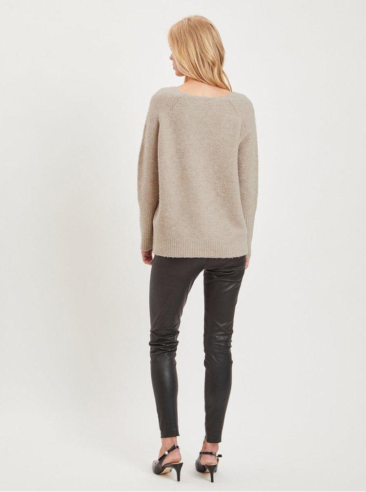 Béžový volný basic svetr s příměsí vlny VILA