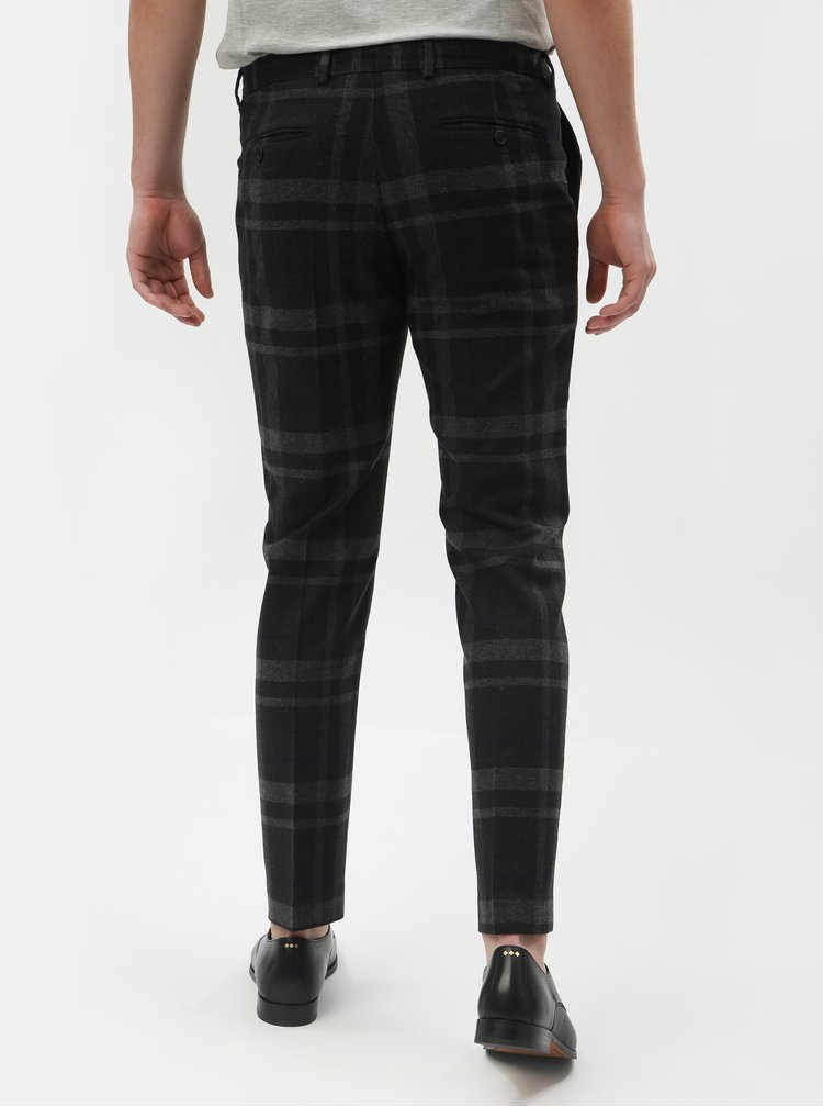 Pantaloni formali gri inchis in carouri din lana Selected Homme Mylojole