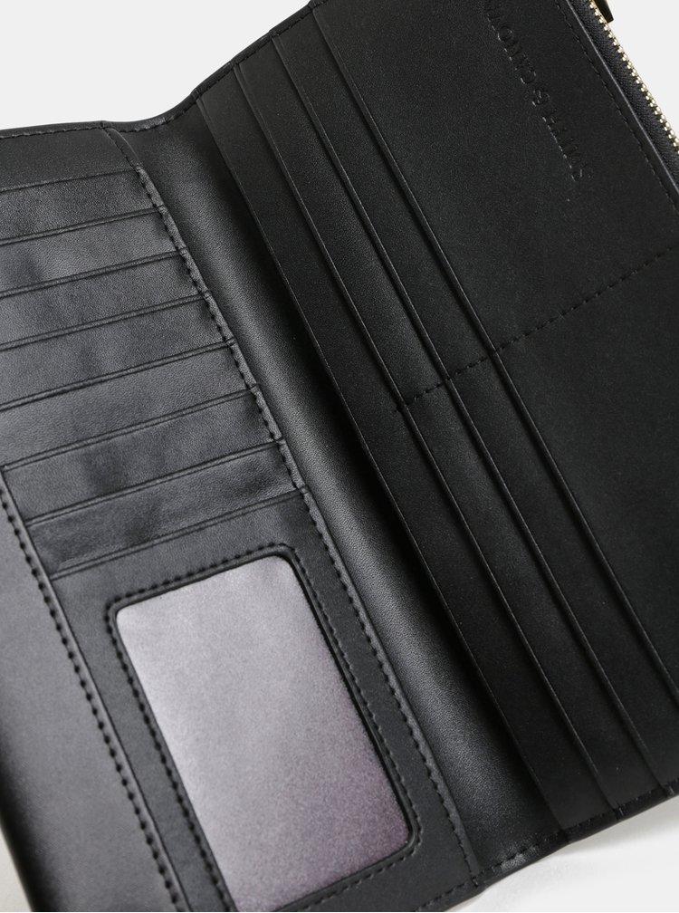 Čierna kožená veľká peňaženka Smith & Canova