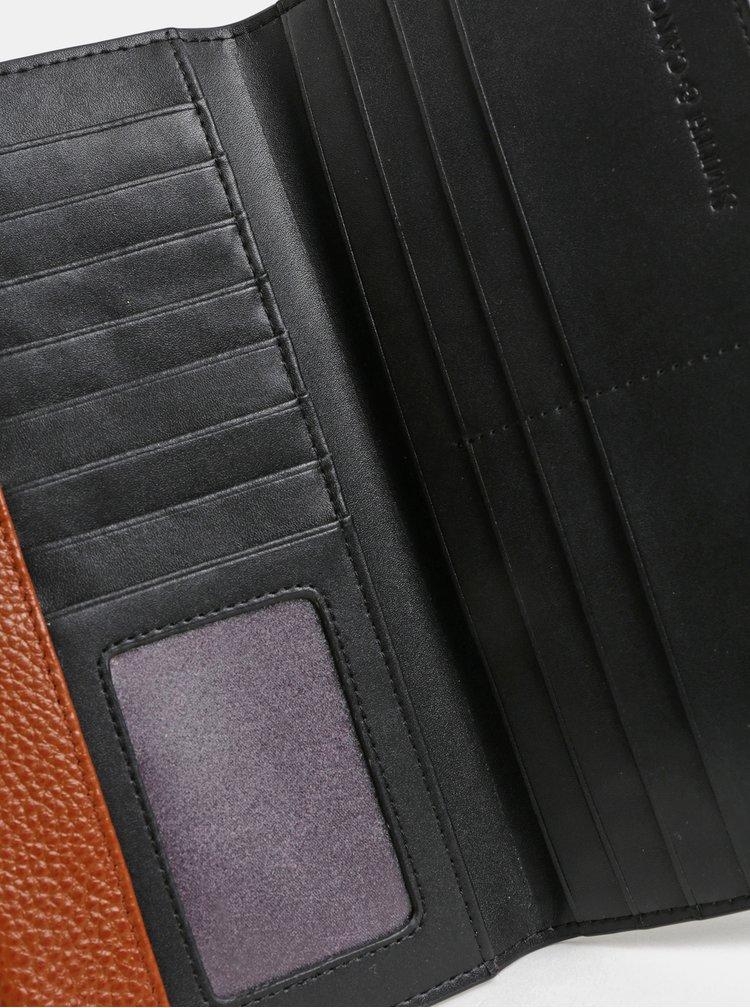 Hnědo-černá kožená velká peněženka Smith & Canova