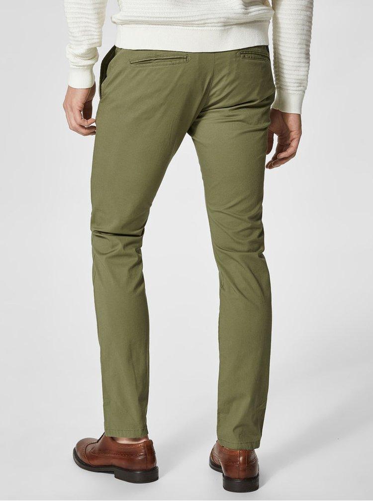 Khaki slim fit chino kalhoty s páskem Selected Homme Hyard