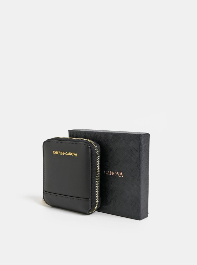 Černá kožená malá peněženka Smith & Canova