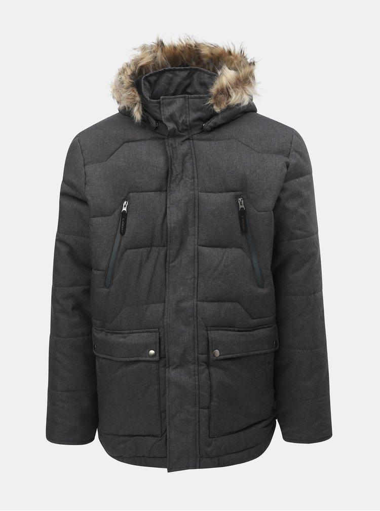 Jacheta barbateasca gri inchis impermeabila de iarna cu blana detasabila pe gluga LOAP Thron