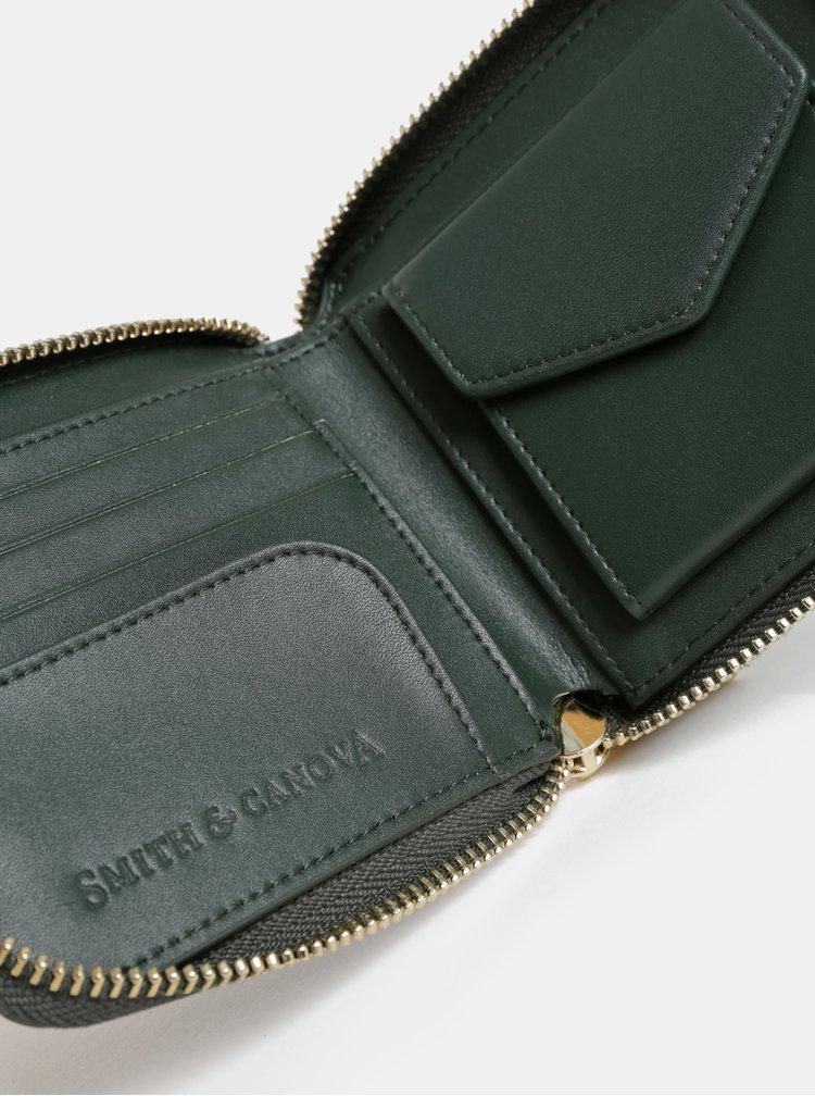 Portofel verde inchis mic din piele Smith & Canova
