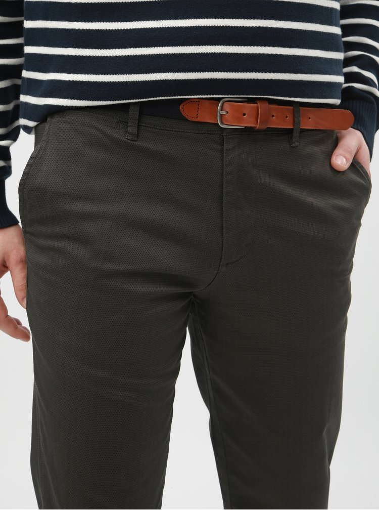 Pantaloni kaki cu model chino slim Selected Homme Yard