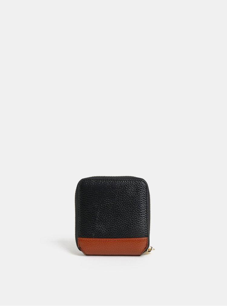 Hnědo-černá kožená malá peněženka Smith & Canova