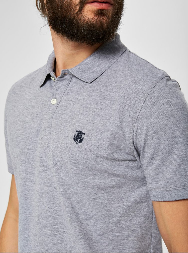 Tricou polo gri melanj cu broderie Selected Homme Haro