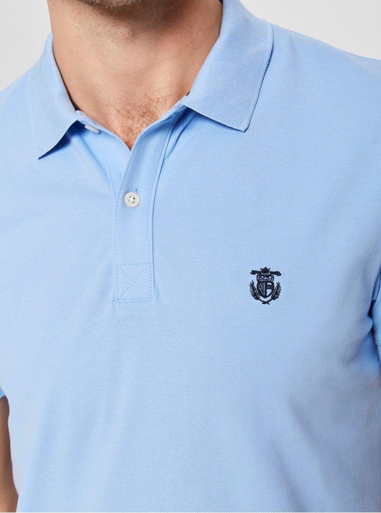 Tricou polo albastru deschis cu broderie Selected Homme Haro