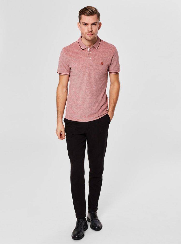 Červené žíhané polo tričko Selected Homme Twist