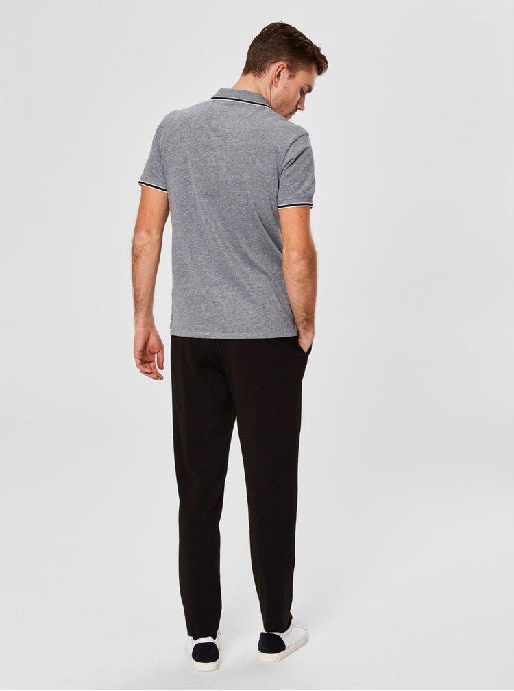 Šedé žíhané polo tričko Selected Homme Twist