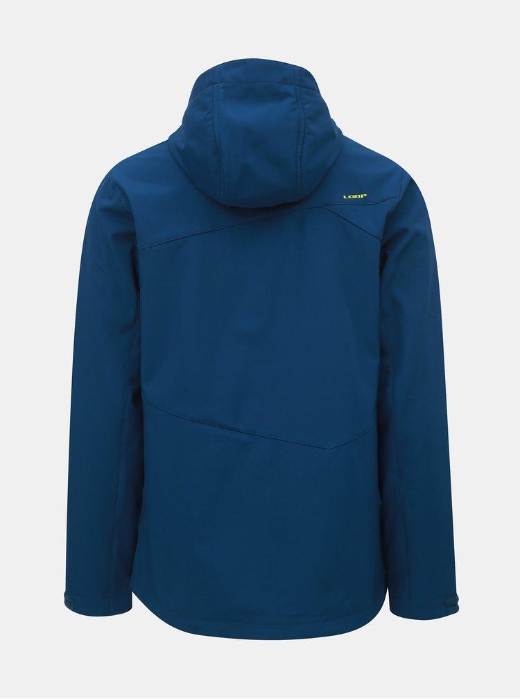 Tmavě modrá pánská softshellová nepromokavá bunda s kapucí LOAP Lombard