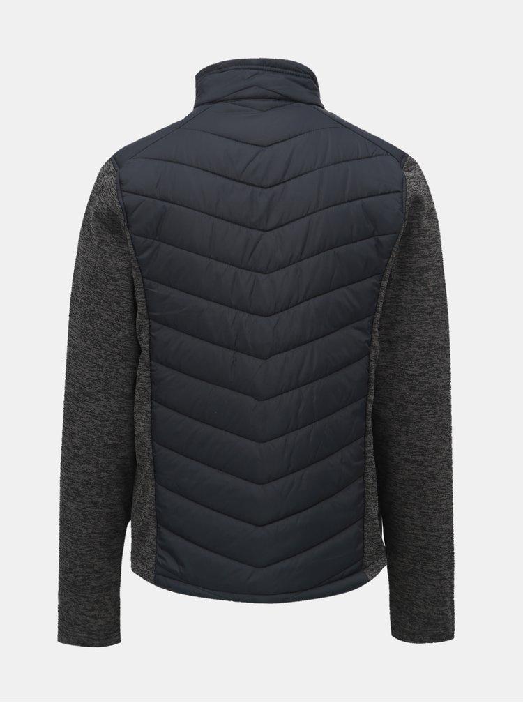 Šedo-modrá pánská žíhaná lehká bunda s mikinovými rukávy LOAP Gabe