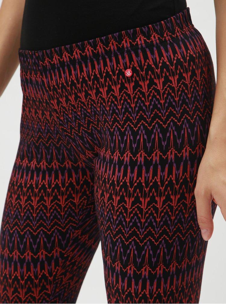 Leggings negru-bordo de dama cu model LOAP Adelita