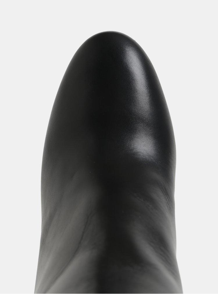 Černé kožené kotníkové boty na vysokém podpatku KARL LAGERFELD