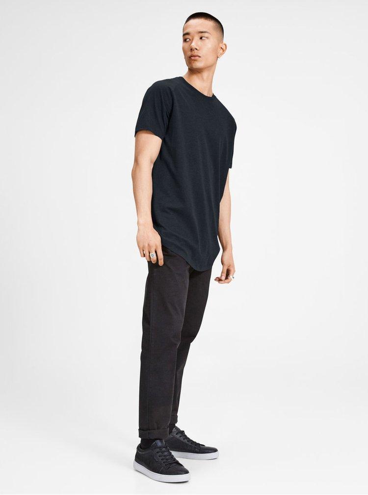 Modré basic tričko s krátkym rukávom Jack & Jones Corafe