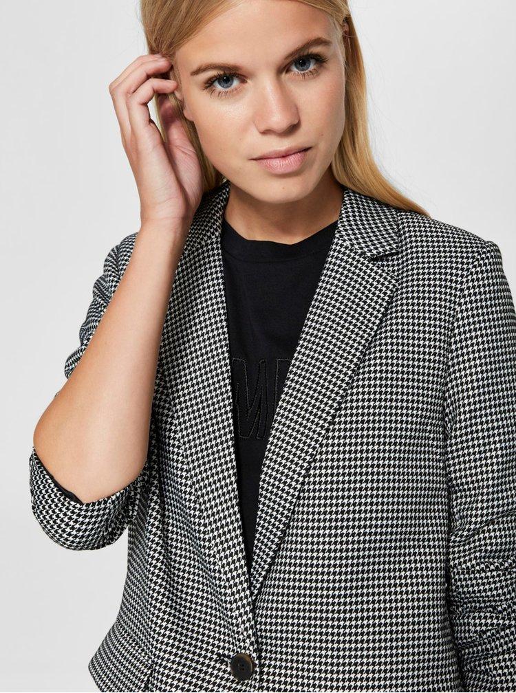 Šedý vzorovaný lehký kabát s kapsami Selected Femme Holla