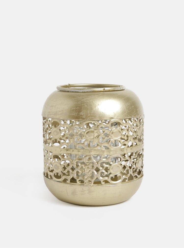 Svícen ve zlaté barvě s aztéckým motivem Kaemingk