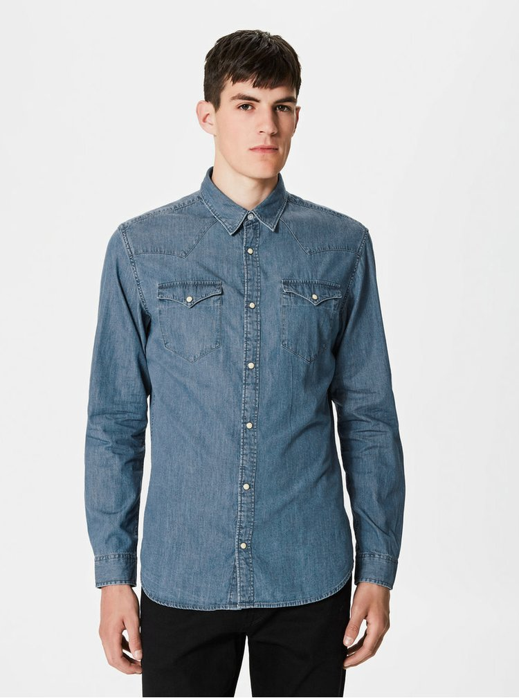 Camasa albastra slit fit din denim Selected Homme One Ned