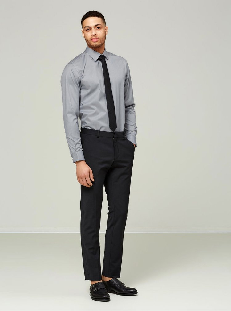 Camasa slim fit gri cu model discret Selected Homme Done