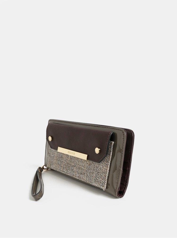 Hnědá velká peněženka s odnímatelným poutkem Bessie London