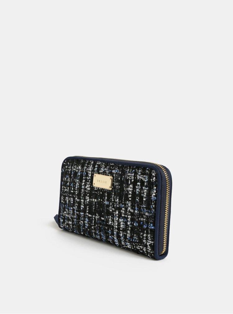 Tmavomodrá veľká melírovaná peňaženka Bessie London