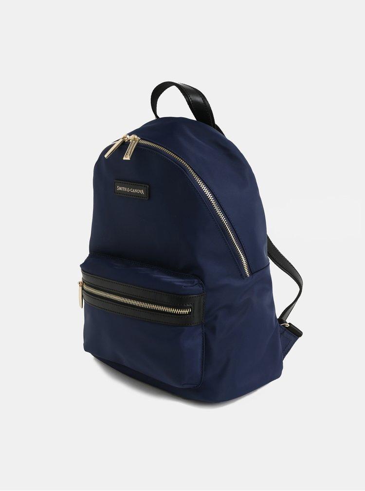Modrý batoh s koženými detaily Smith & Canova