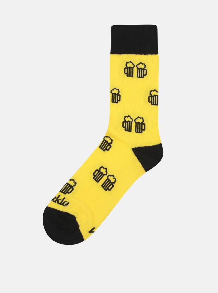 Žluté ponožky s motivem piva Fusakle Na zdraví