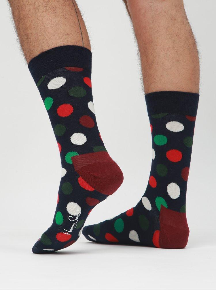 Súprava štyroch párov unisex vzorovaných ponožiek v modrej, zelenej a vínovej farbe s darčekovým boxom Happy Socks Holiday