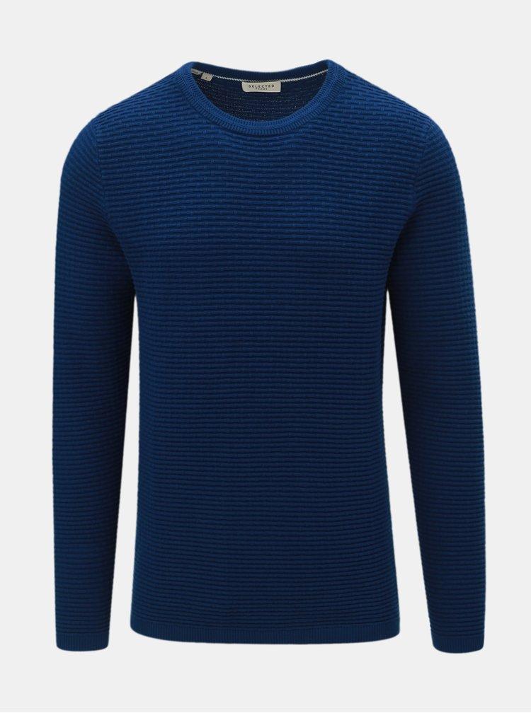 Tmavomodrý sveter s okrúhlym výstrihom Selected Homme New Dean