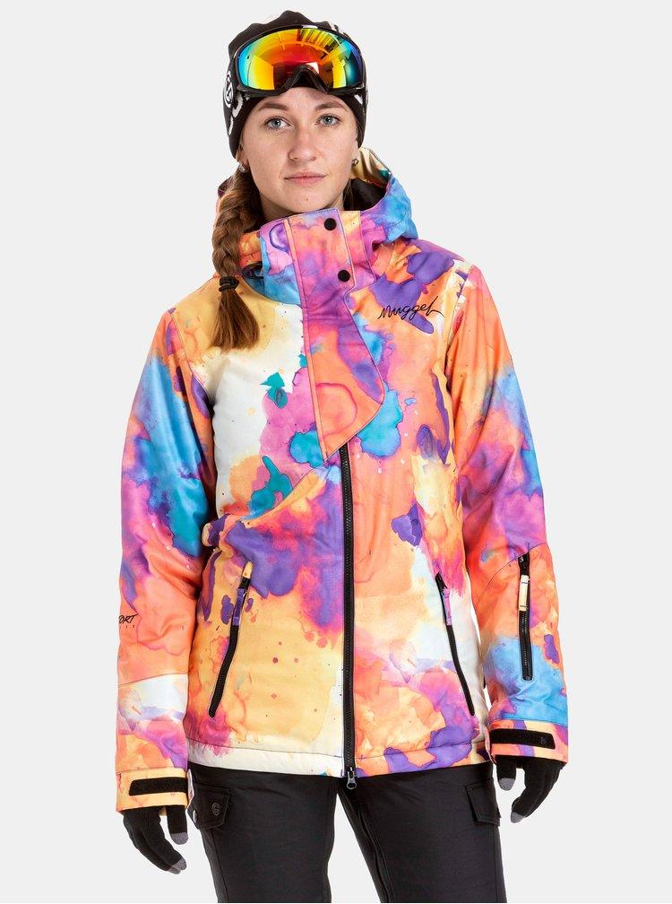 Ružovo–oranžová dámska nepremokavá snowboardová bunda NUGGET Anja