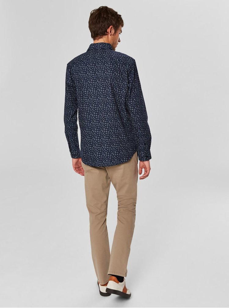 Camasa albastru inchis cu model slim fit Selected Homme Mark