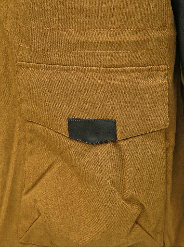 Geaca barbateasca gri-mustar impermeabila de iarna cu dublura din blana artificiala NUGGET Arsenal