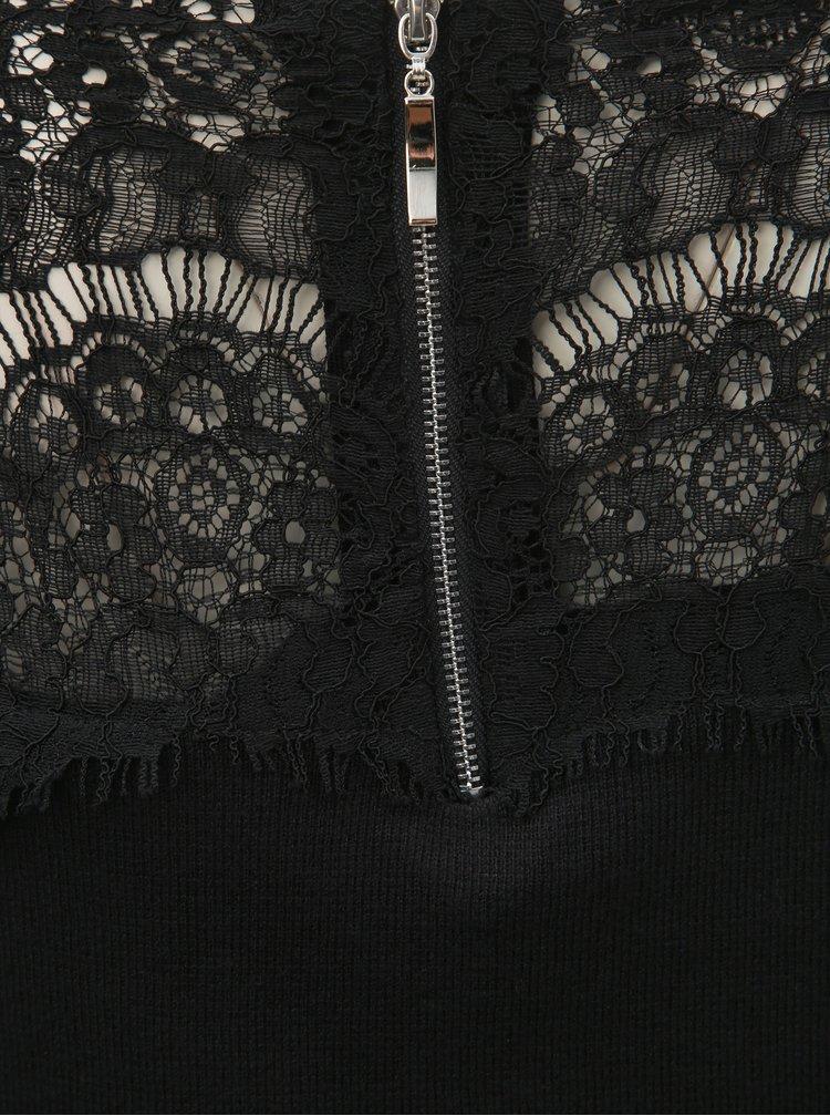Černý svetrový top s krajkou a odhalenými rameny Apricot
