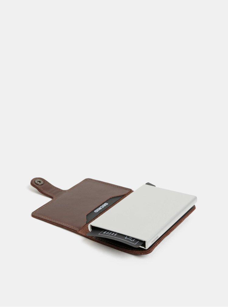 Tmavohnedá kožená peňaženka s puzdrom na karty Secrid Miniwallet