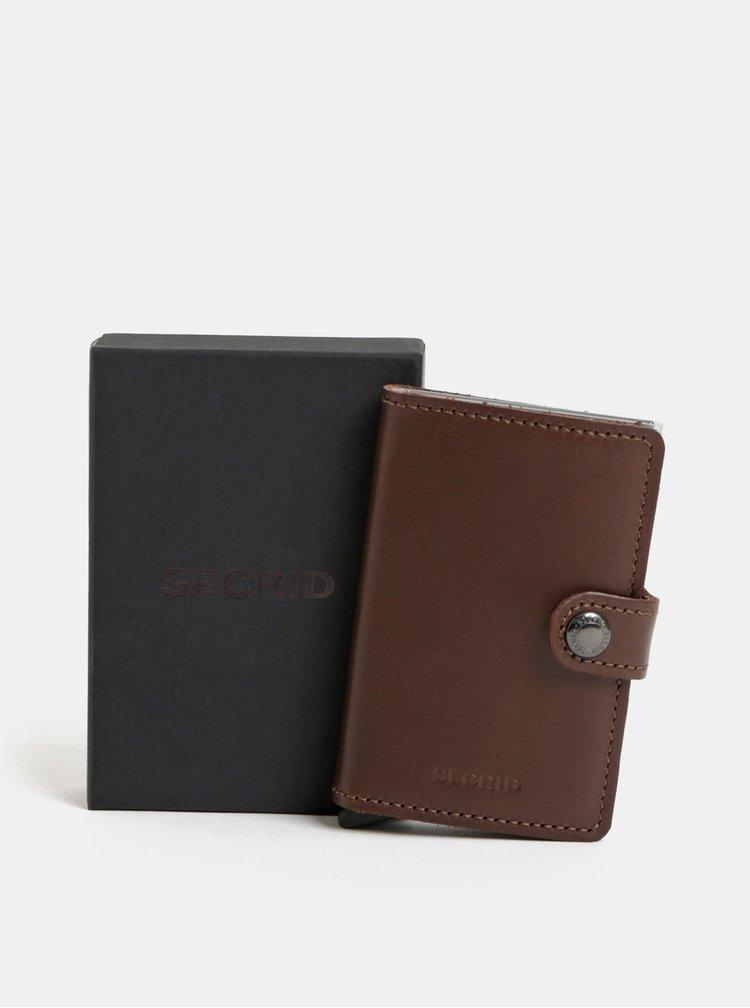 Tmavě hnědá kožená peněženka s pouzdrem na karty Secrid Miniwallet