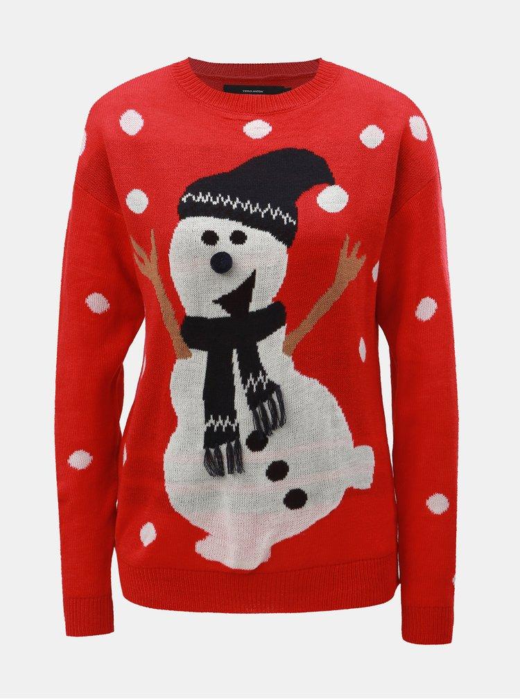 Červený svetr s motivem sněhuláka VERO MODA Snow
