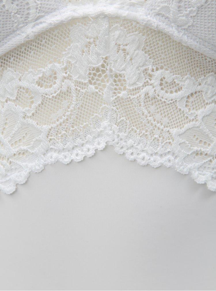 Set de camasa de noapte cu dantela si chiloti tanga alb Obsessive