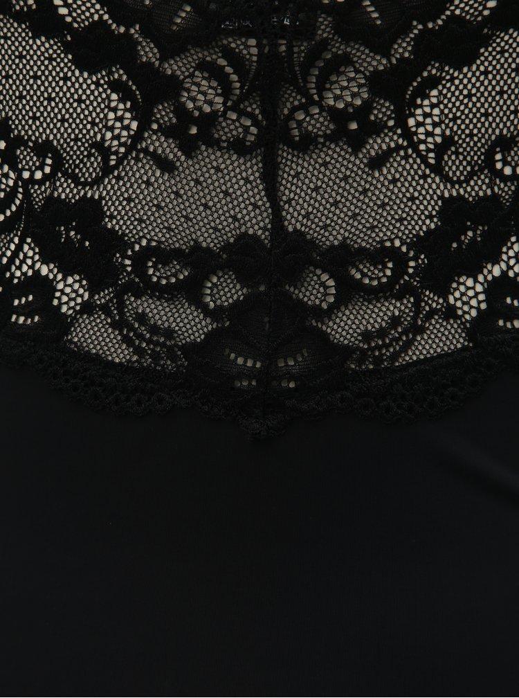 Set de camasa de noapte cu dantela si chiloti tanga negru Obsessive