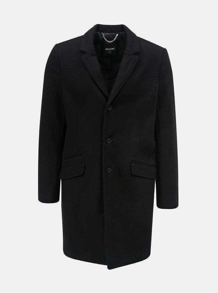 Čierny vlnený kabát ONLY & SONS Julian