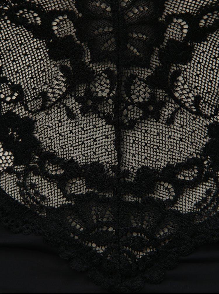 Sada krajkového podvazkového topu a tang v černé barvě Obsessive