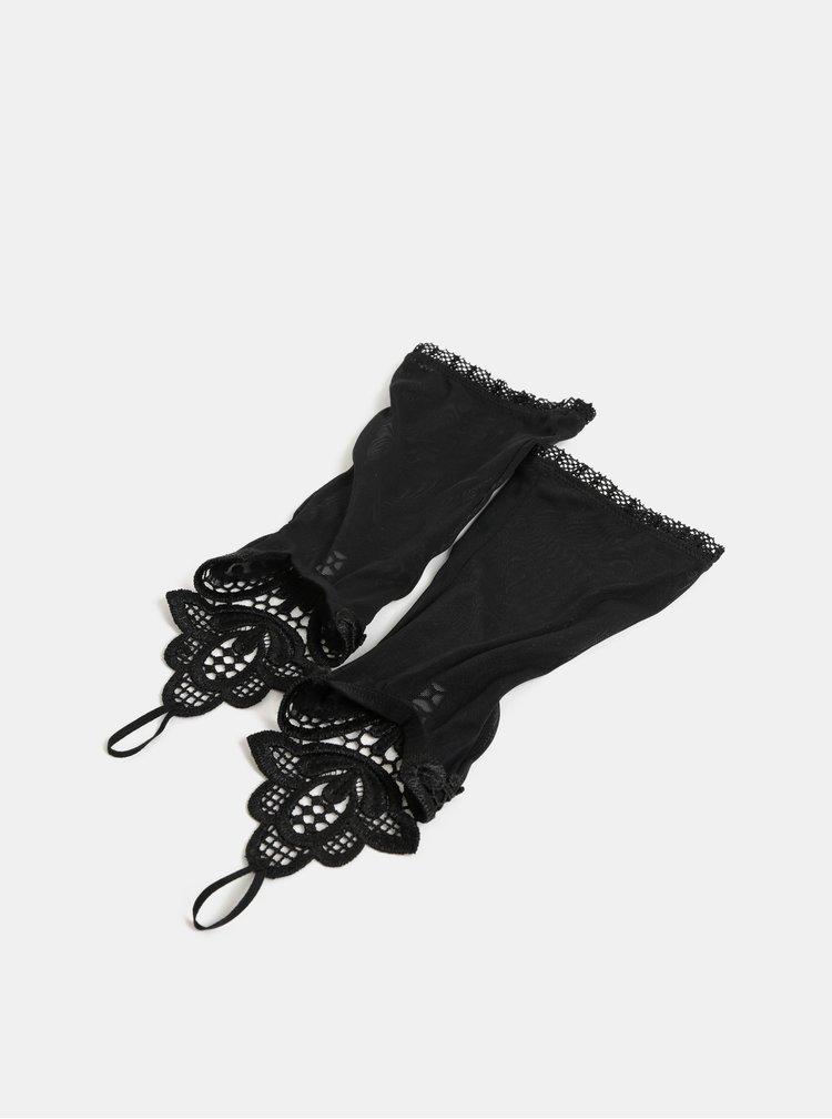 Manusi negre transparente cu dantela Obsessive