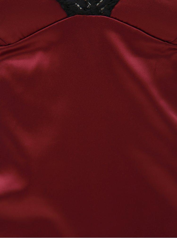 Set de camasa de noapte cu volane si chiloti tanga roz inchis Obsessive