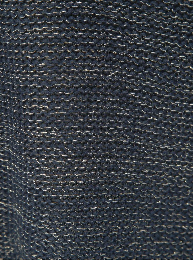 Pulover albastru inchis melanj cu fibre metalice VILA Diego