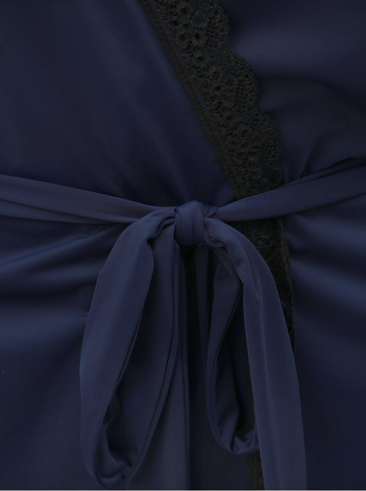Set de halat de baie si chiloti tanga albastru inchis si negru Obsessive