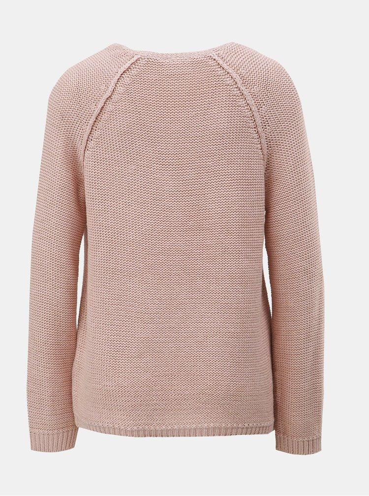 Světle růžový žíhaný svetr s metalickým vláknem VILA Diego