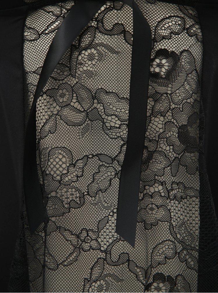 Set de camasa de noapte cu funda si chiloti tanga negru Obsessive