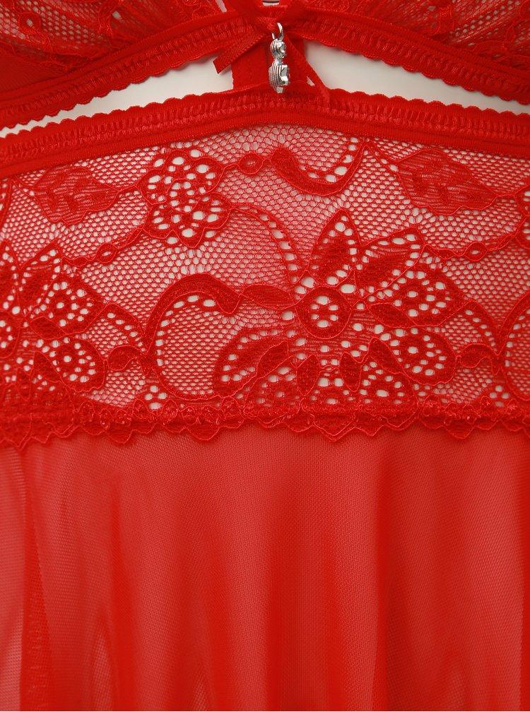 Set de camasa de noapte cu decupaje si chiloti tanga rosu Obsessive